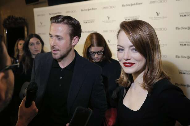Actors Ryan Gosling and Emma Stone are interviewed before a special screening of La La Land at the Castro Theater in San Francisco, Calif., on Thursday, December 8, 2016. The SF Film Society honored LaLa Land with a special screening at the Castro with director Damien Chazelle and stars Ryan Gosling and Emma Stone.