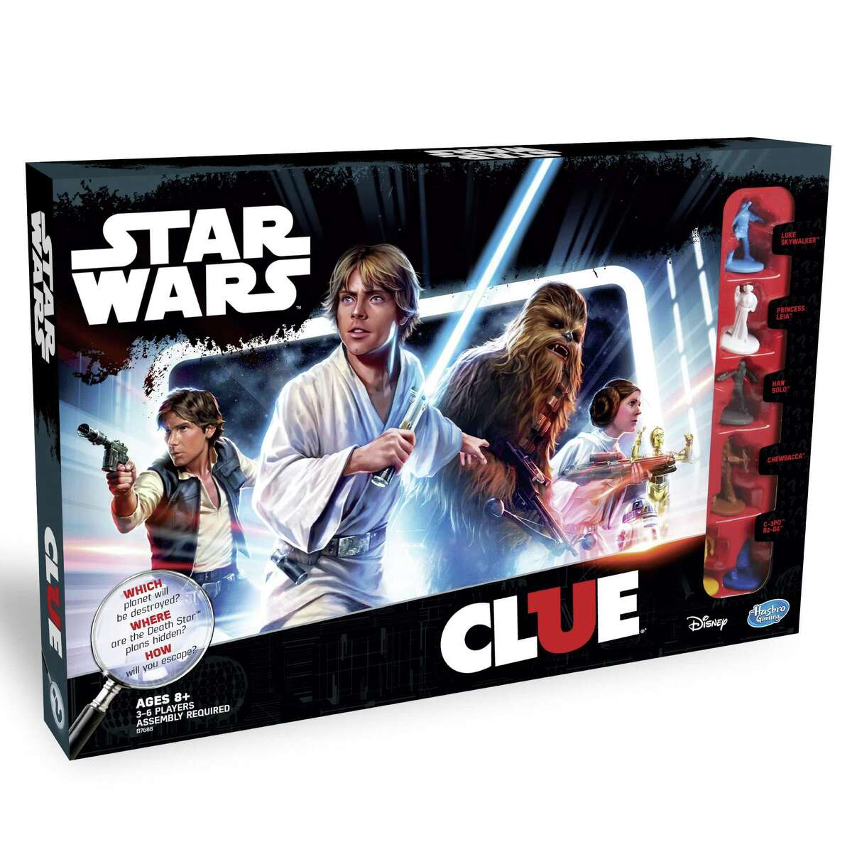 """Clue Game: """"Star Wars"""" Edition ($24.99, hasbrotoyshop.com): Well it wasn't Col. Mustard in the trash compactor. The classic whodunnit board game Clue gets a murder-free Imperial makeover, as you race through a 3-D version of the Death Star to figure out which planet is next on Darth Vader's hit list, which room has the secret Death Star plans, and which vehicle is your means of escape."""