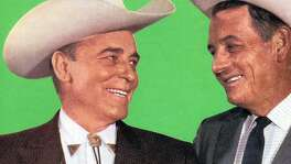 Texas swing legend Bob Wills (left) and singer Tommy Duncan, one of the founding members of Bob Wills and the Texas Playboys, circa 1965.