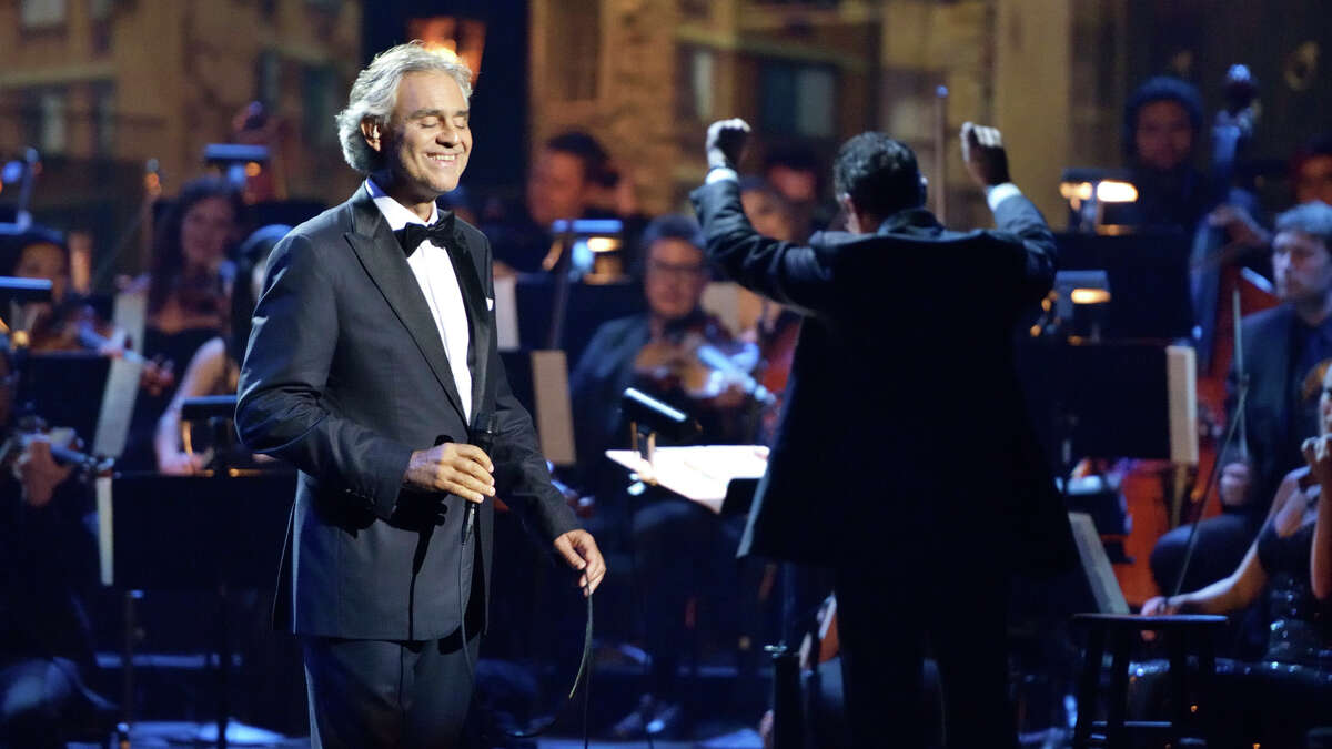 Andrea Bocelli in a performance for his tour for the 2015 album