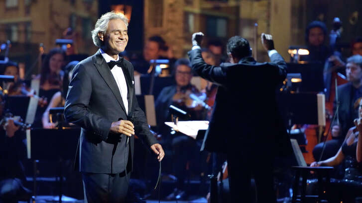 """Andrea Bocelli in a performance for his tour for the 2015 album """"Cinema"""""""