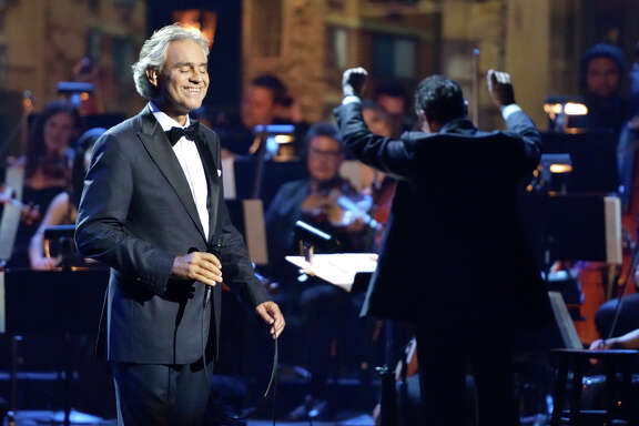 "Andrea Bocelli in a performance for his tour for the 2015 album ""Cinema"""