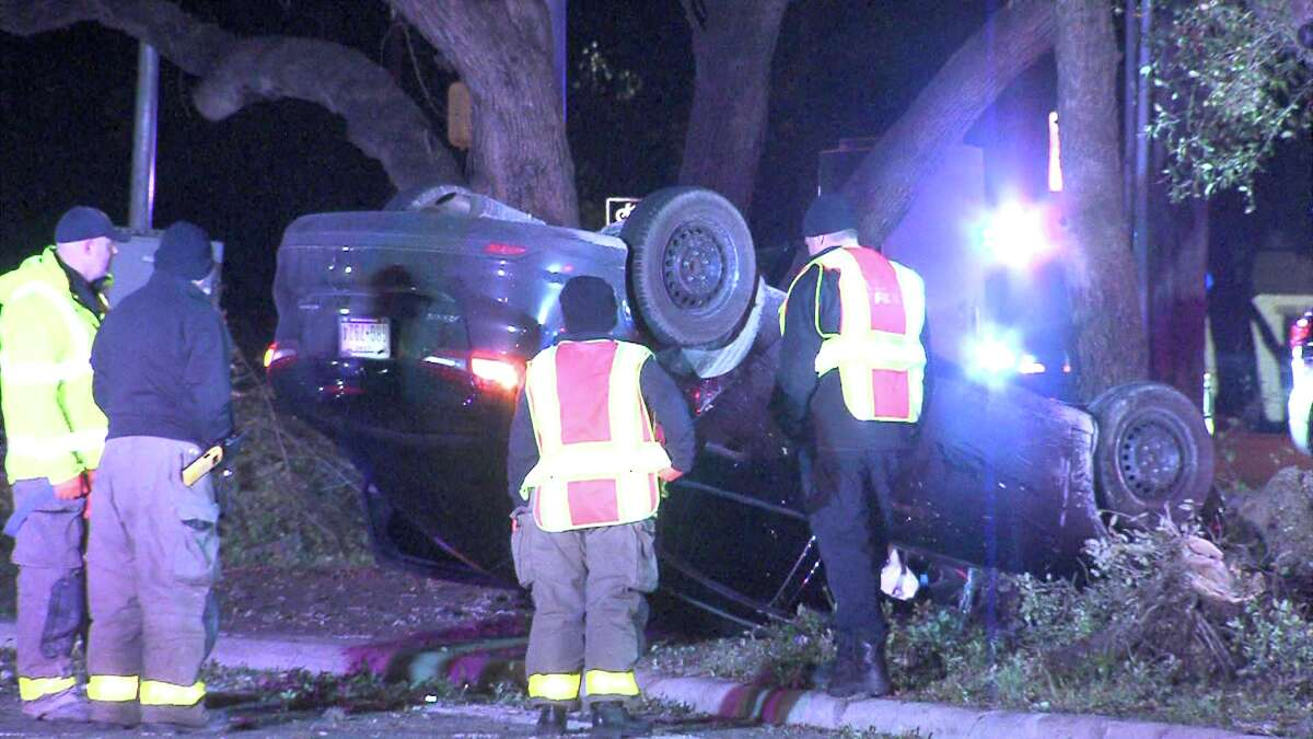 A man suffered minor injuries Dec. 9, 2016, during a rollover crash on Wurzbach Parkway.