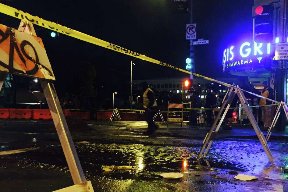 A 12-inch water main dating back to 1895 broke early Friday morning and flooded the intersection of Fourth and Howard streets in San Francisco's South of Market neighborhood.