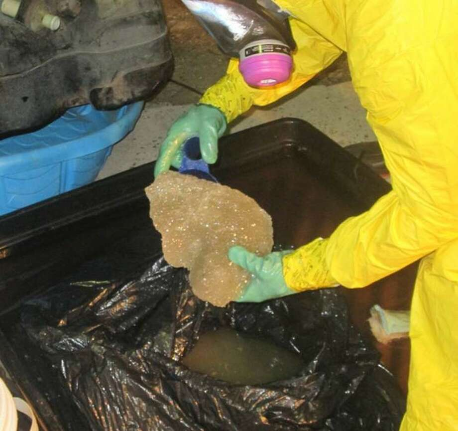 U.S. Customs and Border Protection agents confiscated about $2.1 million in liquid meth from a pickup in Sarita, Texas. Photo: U.S. Customs And Border Protection