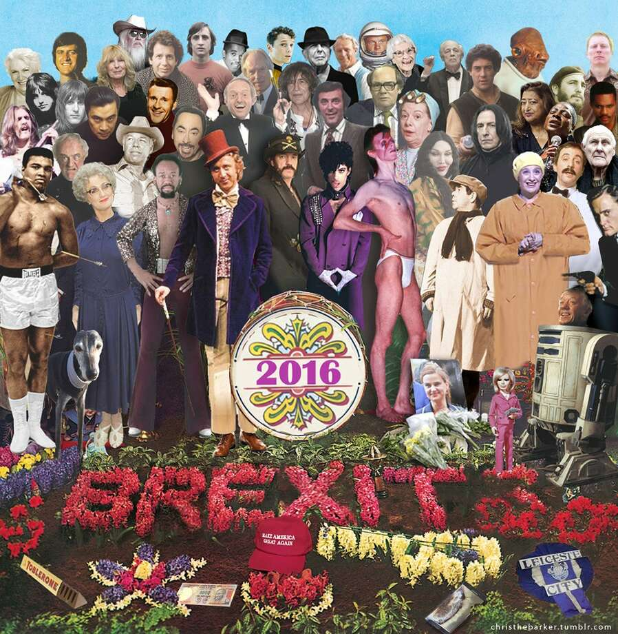 """PHOTOS: The musical celebs we've lost in 2016British art director Chris Barker recreated the iconic Beatles """"Sgt. Pepper"""" album cover with photos of the dearly departed celebrities we've lost in 2016.They're all here, including Prince, David Bowie, Glenn Frey, George Kennedy, Muhammad Ali, and even Kenny Baker, who played R2-D2 in the """"Star Wars"""" films.Click through to see what musical celebs we've lost in 2016 so far... Photo: Chris Barker / Christhebarker.tumblr.com/"""