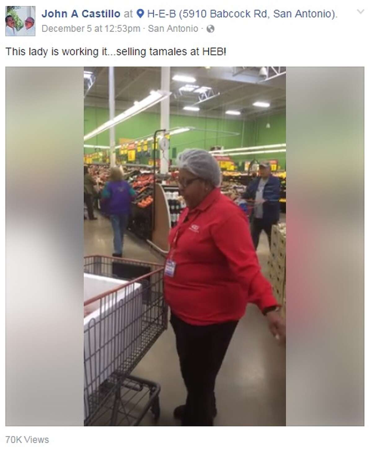 Selling tamales in San Antonio isn't a tough pitch, but a local H-E-B worker went ahead and added her own flair to the business and social media is eating it up.