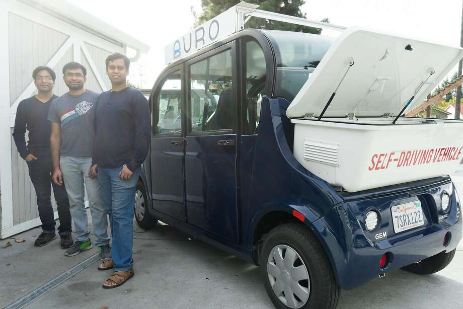 Nalin Gupta (left), Srinivas Reddy Aellala and Jit Ray Chowdhury have developed the autonomous shuttles for Auro. Gupta is CEO of the company. Photo: James Tensuan, Special To The Chronicle