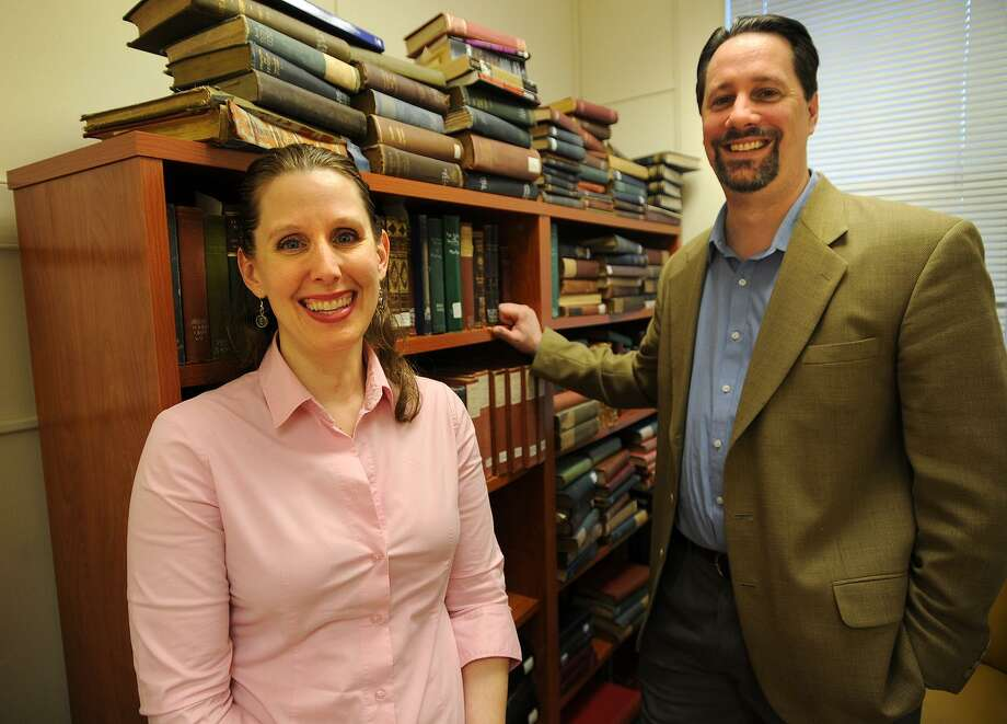 Authors, English professors, and husband and wife Amy Nawrocki and Eric Lehman met when they had adjoining offices at the University of Bridgeport. Photo: Brian A. Pounds / Hearst Connecticut Media / Connecticut Post