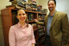Authors, English professors, and husband and wife Amy Nawrocki and Eric Lehman met when they had adjoining offices at the University of Bridgeport.