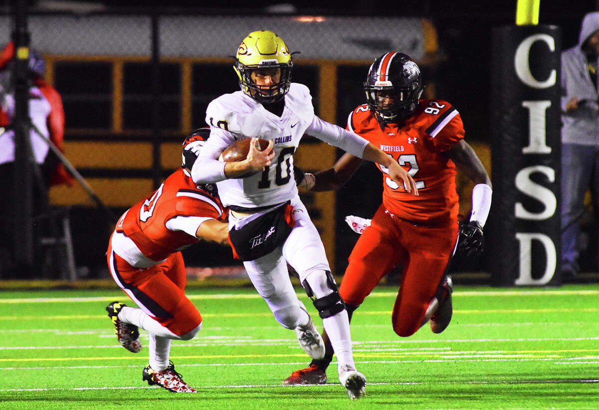 Klein Collins senior quarterback Brett Bridges rushes against the Westfield Mustangs last week. Bridges completed six of his 12 pass attempts in the Westfield contest, racking up 165 yards and a touchdown, leading the Tigers to a 21-18 victory over the former district rival.