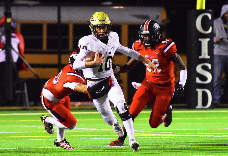 Klein Collins senior quarterback Brett Bridges rushes against the Westfield Mustangs last week. Bridges completed six of his 12 pass attempts in the Westfield contest, racking up 165 yards and a touchdown, leading the Tigers to a 21-18 victory over the former district rival. Photo: Tony Gaines / HCN