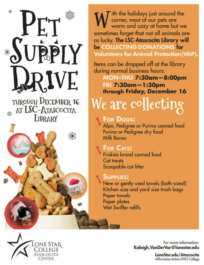 The Lone Star College-Atascocita library is hosting their third annual Pet Supply Drive through Dec. 16 to benefit Volunteers of Animal Protection in Kingwood. Photo: Courtesy Of LSC-Atascocita