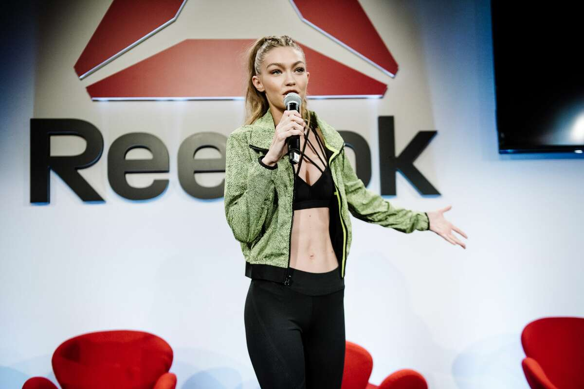 Gigi Hadid speaks onstage at the Reebok#PerfectNever Revolution, celebrating the next stage of the brand's #PerfectNever message which inspires women to challenge the notion of perfection as part of its Be More Human campaign.
