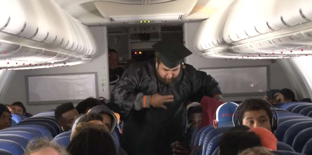 A handful of football players from Sam Houston State University graduated from that school while aboard a flight to their next game in Virginia.