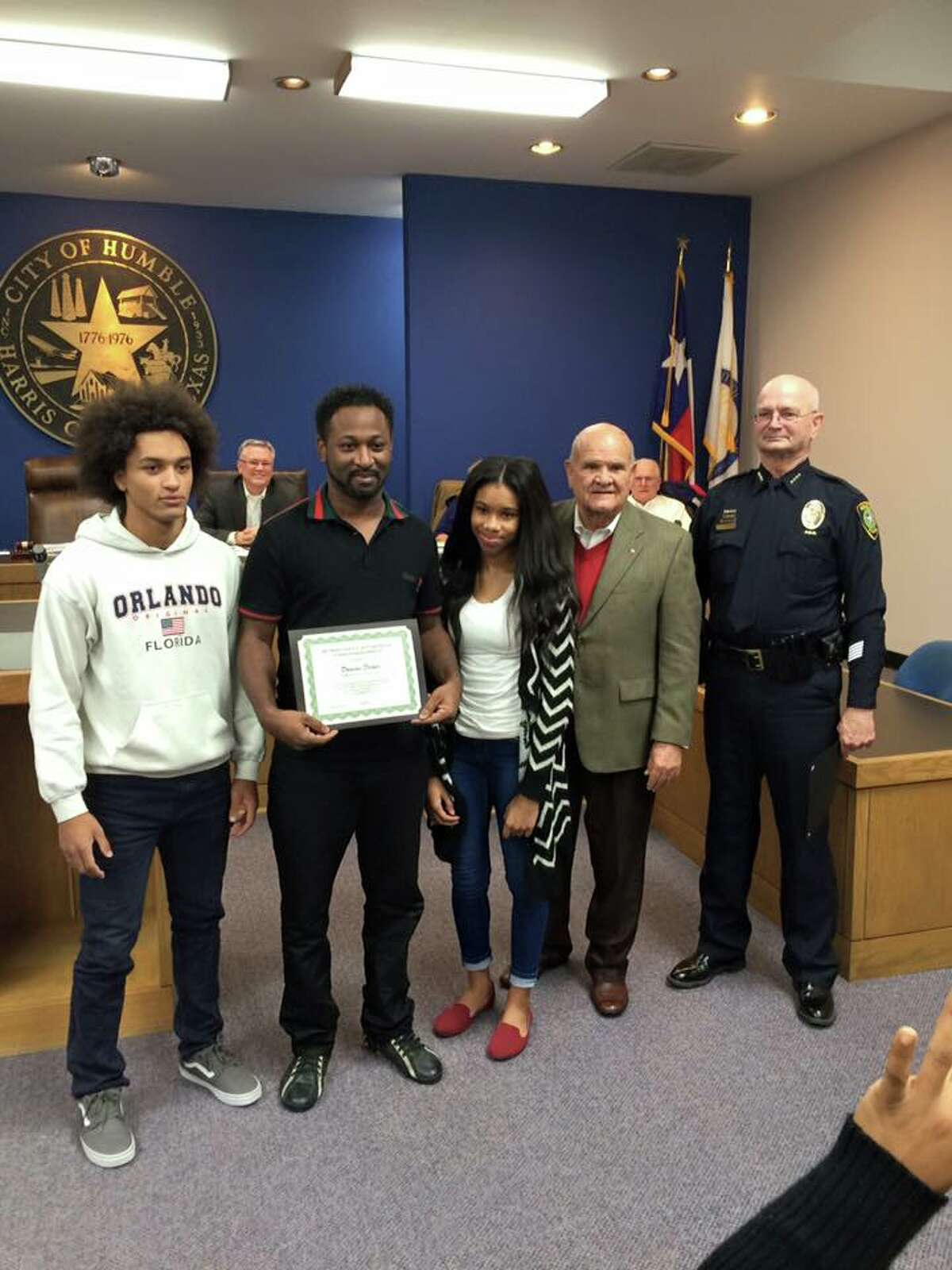 The good Samaritans were honored for their quick thinking during the city of Humble Council meeting Thursday, Dec. 8. Decuir was presented with a certificate from the Humble Police Department and the city of Humble Mayor Merle Aaron; Beard was unable to attend the meeting.