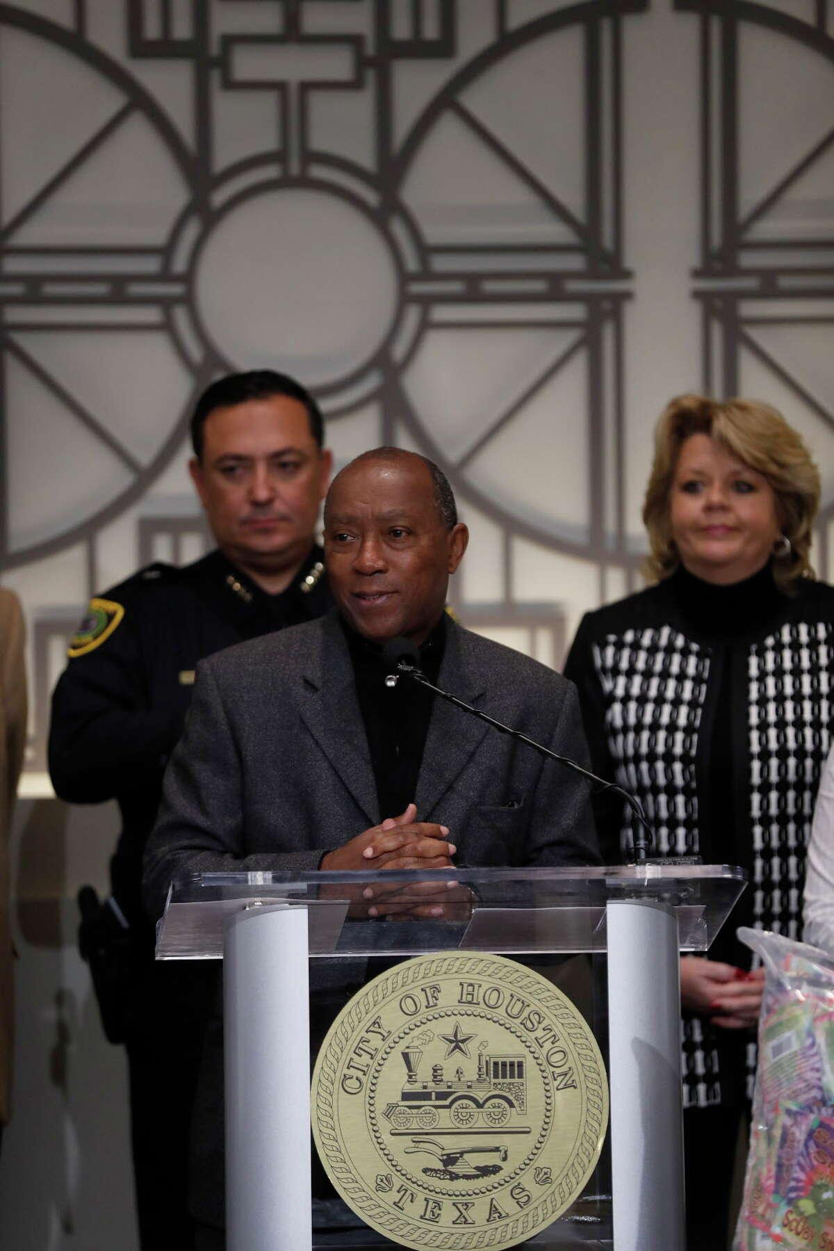Mayor Sylvester Turner speaks during a press conference on Dec. 9.
