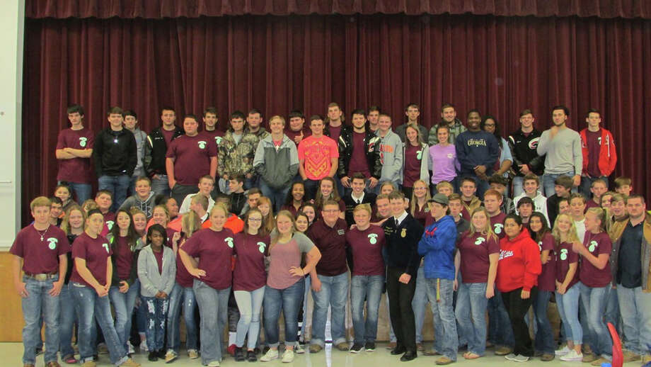 Coldspring FFA Chapter members, pictured with the visiting Texas State FFA Officer Traveling Team, were inspired to take initiative and to make the most of every day on Tuesday, Dec. 6. Photo: Submitted