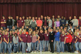 Coldspring FFA Chapter members, pictured with the visiting Texas State FFA Officer Traveling Team, were inspired to take initiative and to make the most of every day on Tuesday, Dec. 6.