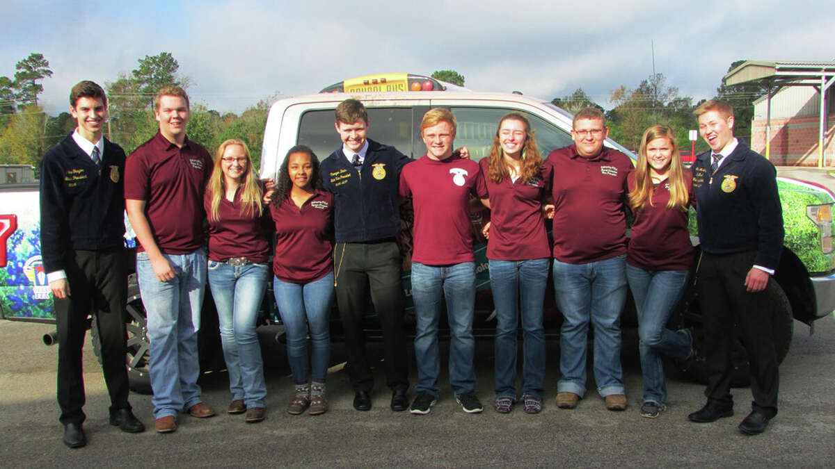 Coldspring FFA officers hosted visiting FFA state officers on Tuesday, Dec. 6. Pictured, from left to right, are Texas FFA President Jake Traylor, Coldspring FFA Reporter Deaven Fussell, Coldspring FFA Student Advisor Angel Ramber, Coldspring FFA Sentinel Symore Thompson, Area IX Texas FFA Vice President Creager Davis, Coldspring FFA President Craig Wallace, Coldspring FFA Treasurer Sarah Heflin, Coldspring FFA Vice President Garrett Richardson, Coldspring FFA Secretary Chelsea Harrison and Texas FFA 1st Vice President Conner McKinzie.