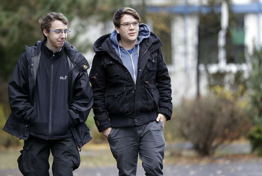 Falk Isernhagen (left) and Felix Benneckenstein are part of a small but effective network of former neo-Nazis in eastern Germany working to help people leave far-right groups. Photo: Michael Sohn, Associated Press