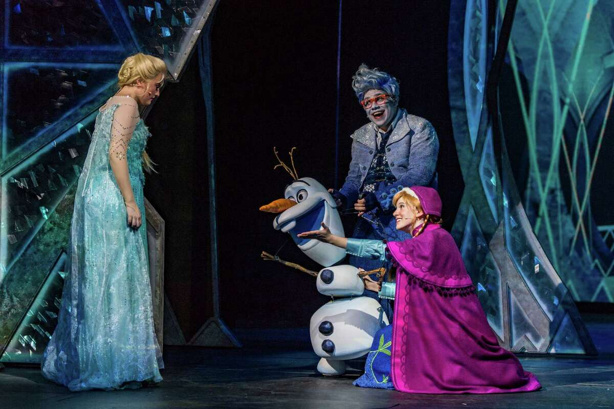 """""""Frozen, A Musical Spectacular"""" on the Disney Wonder tells the story from the animated feature """"Frozen"""" with a combination of traditional theatrical techniques, modern technology and whimsy."""
