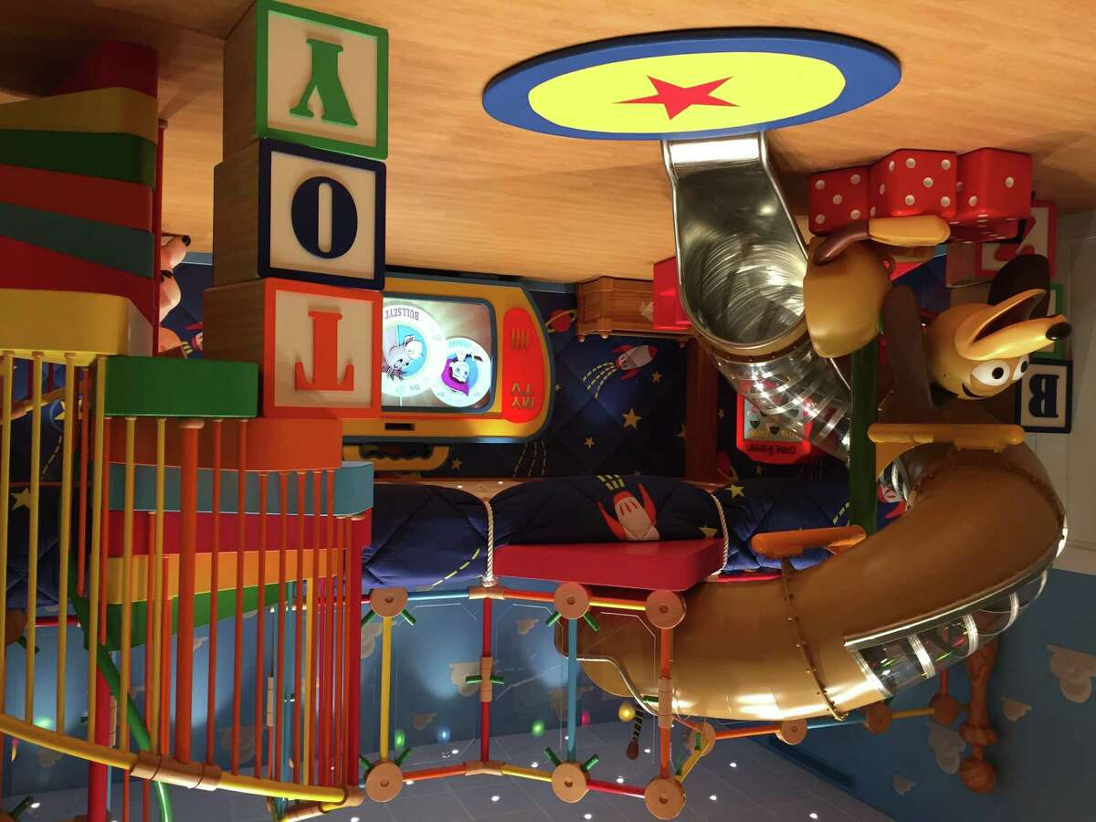 """A giant re-creation of Andy's room from """"Toy Story"""" inside the Oceaneer's Club aboard the Disney Wonder."""