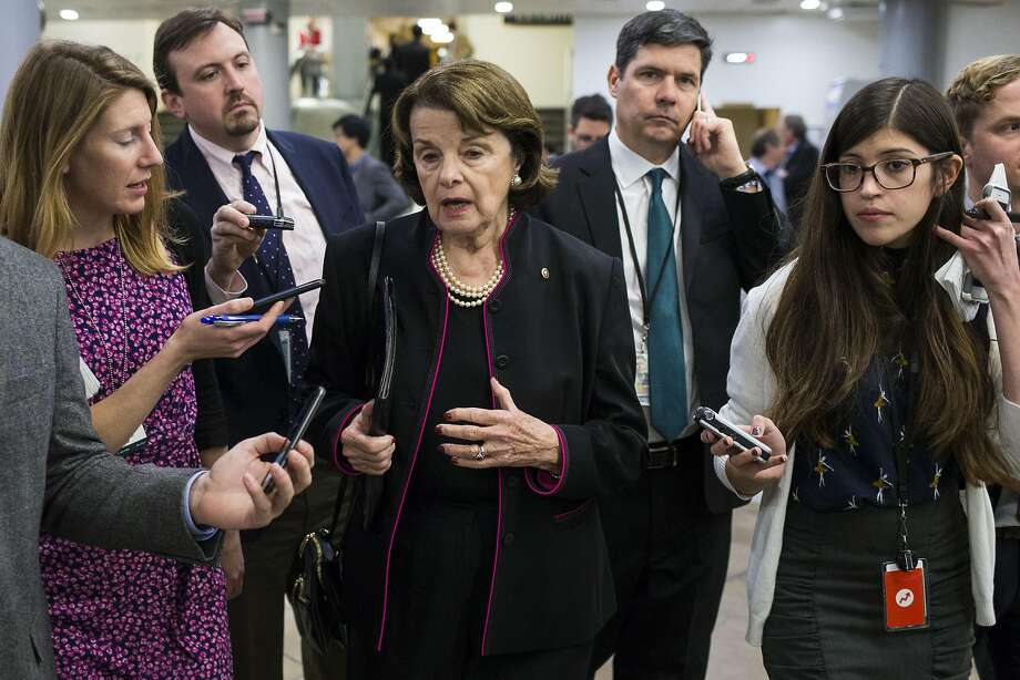 Sen. Dianne Feinstein (D-Calif.) speaks to reporters after a Senate vote on Iran sanctions, in Washington, Dec. 1, 2016. Following a House vote in November, the Senate voted on Thursday to extend American sanctions against Iran for a decade � a measure that supporters said would help ensure that the United States could fully respond if Iran were to violate its obligations under the nuclear agreement. (Al Drago/The New York Times) Photo: AL DRAGO, NYT