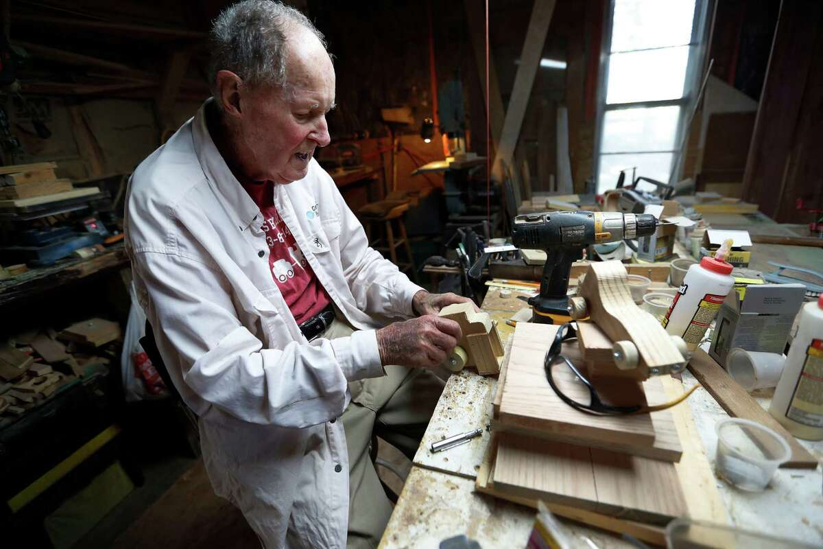 Ernest Raines, 85, makes wooden toys and sells them at the local farmer's market, Tuesday,Nov. 15, 2016 in Rosharon. ( Karen Warren / Houston Chronicle )