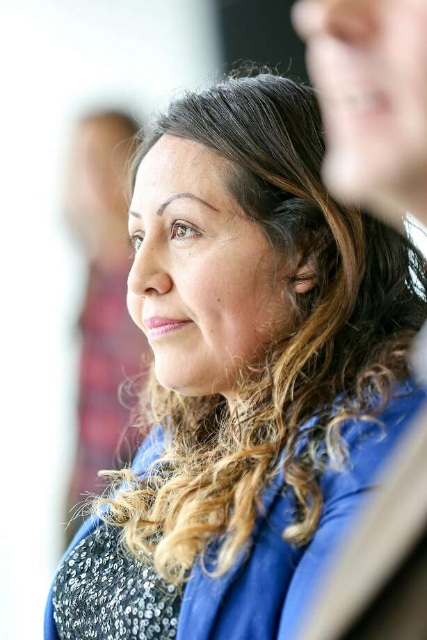 Hamilton Families participant, Yessenia Barrientos, waits to speak at the press conference announcing the Heading Home campaign on Friday, December 9, 2016 in San Francisco, Calif. Photo: Amy Osborne, Special To The Chronicle