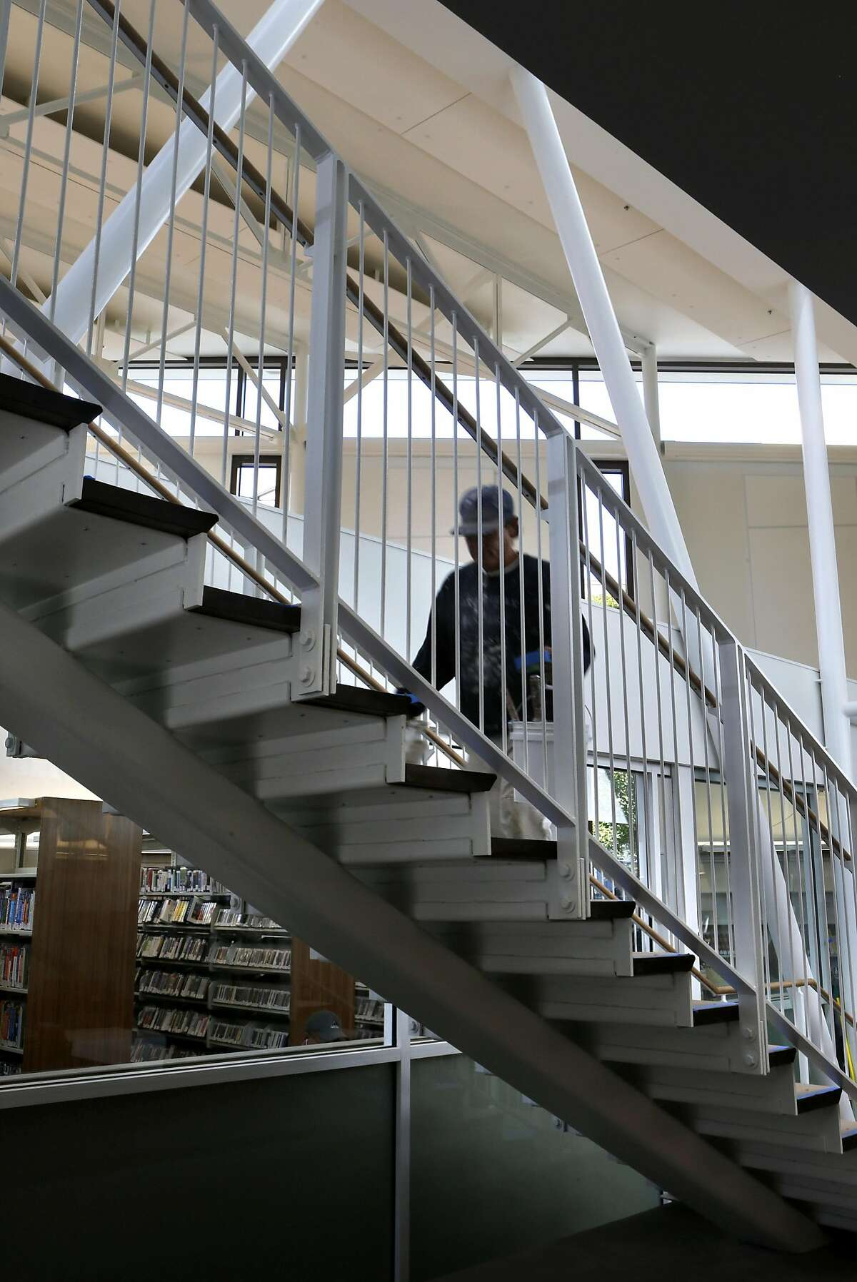 An interior stairway at the North Beach branch library as seen on Wednesday May 7, 2014, in San Francisco, Calif. With the North Beach branch library scheduled to open on May 10, 2014, the overall San Francisco branch library restoration program is nearing completion.