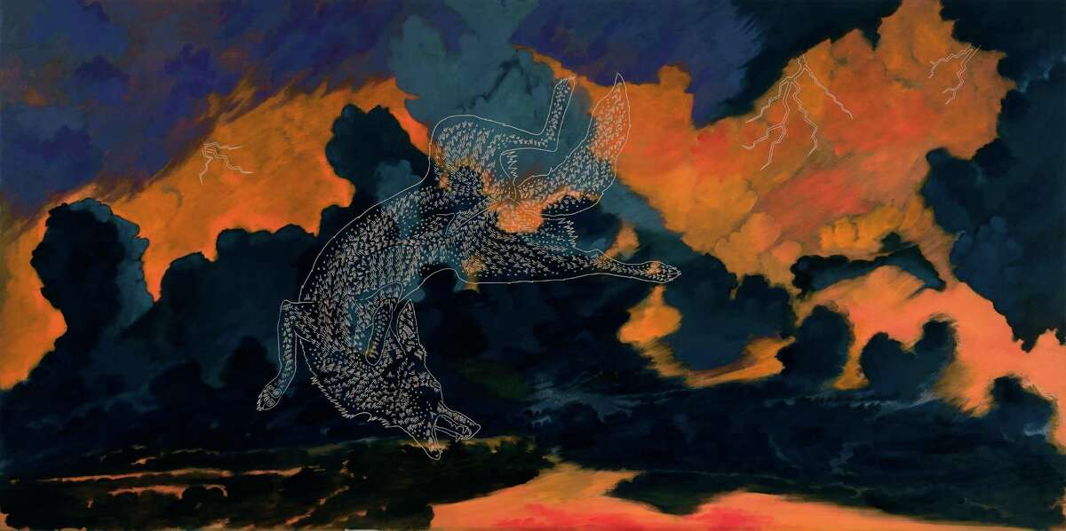 """Armendariz's paintings such as """"Coyotes (Phaeton, Remix)"""" are influenced by his interest in mythology."""