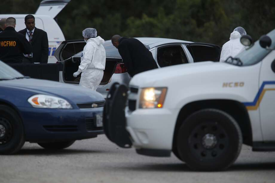 Four burned bodies were found inside a car along Market Street in Channelview on Friday. Photo: Michael Ciaglo, Chronicle