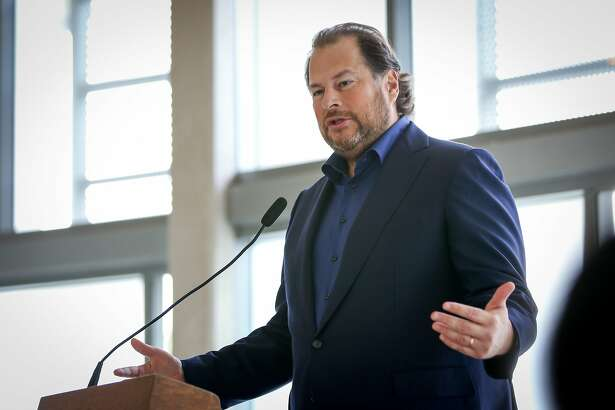 CEO of Salesforce Marc Benioff speaks at the press conference announcing the Heading Home campaign on Friday, December 9, 2016 in San Francisco, Calif.