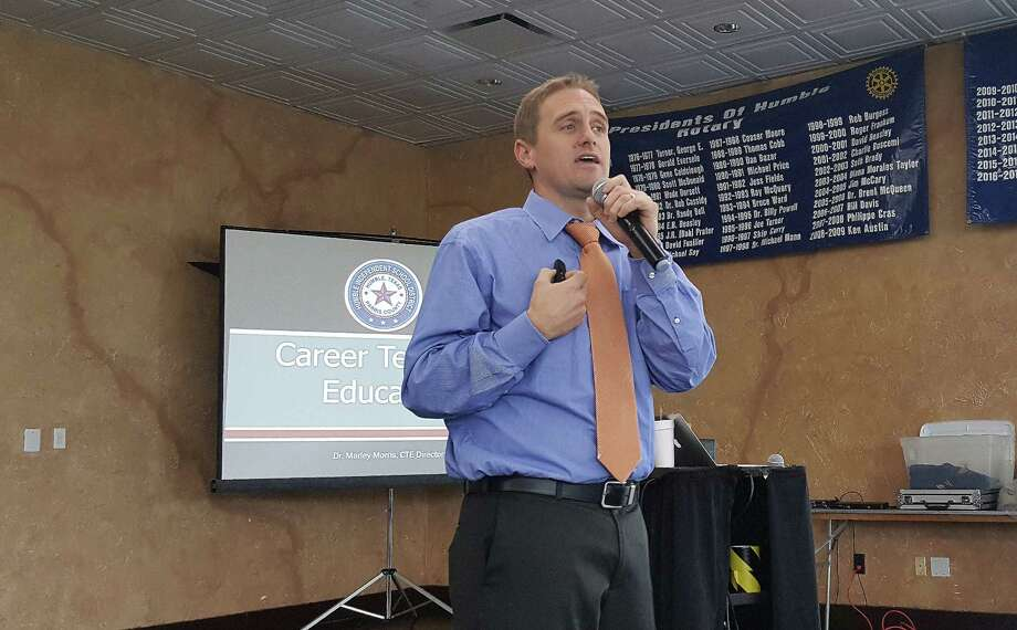 Dr. Marley Morris, director of Career and Technology Education (CTE) for Humble ISD, discusses the district's CTE programs as guest speaker during the Humble Rotary Club meeting at the Humble Civic Center Dec. 7. Photo: Melanie Feuk