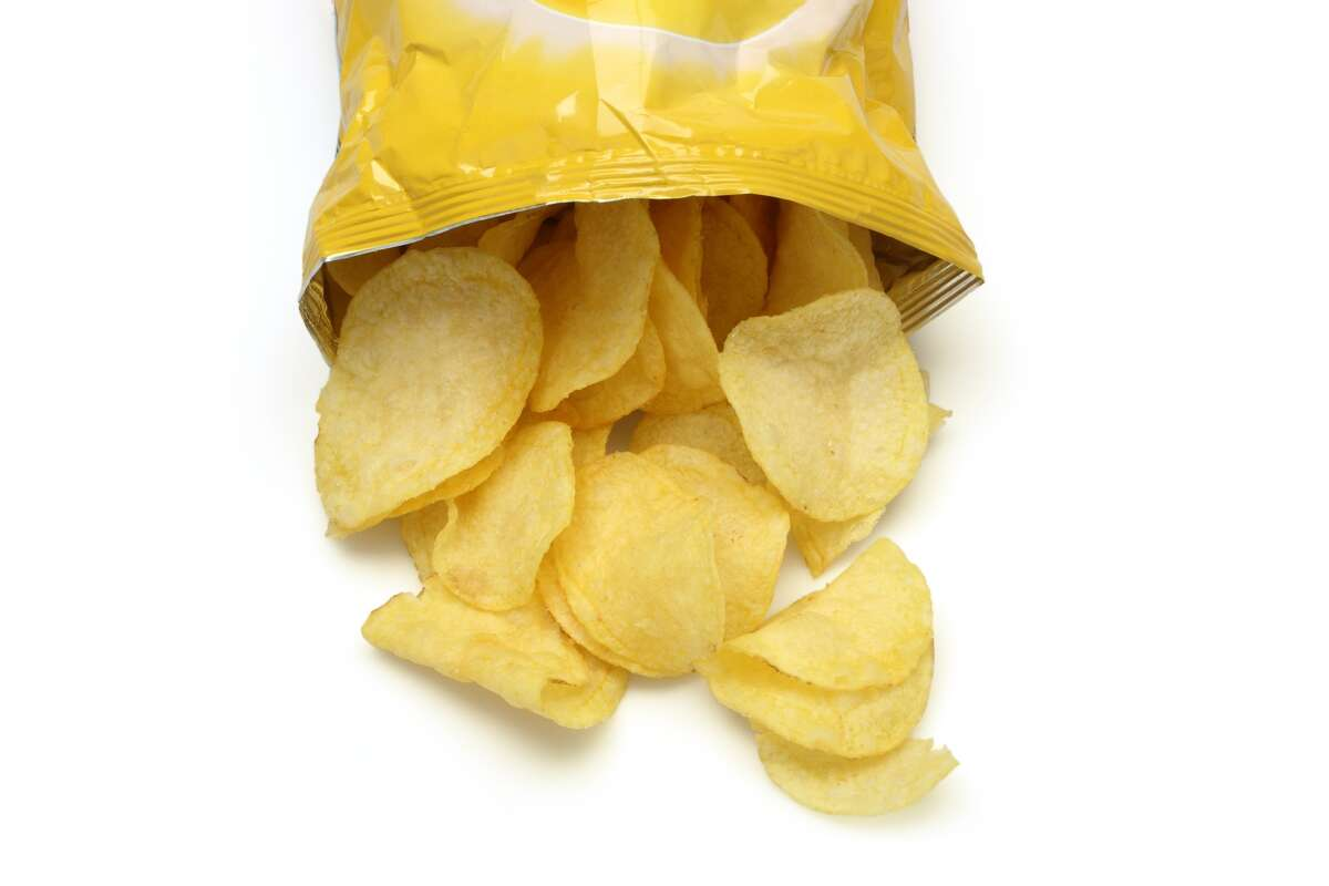 Potato Chips This crunchy snack has always been a guilty pleasure for Americans, however many flavored options such as barbecue contain chicken and beef fat.