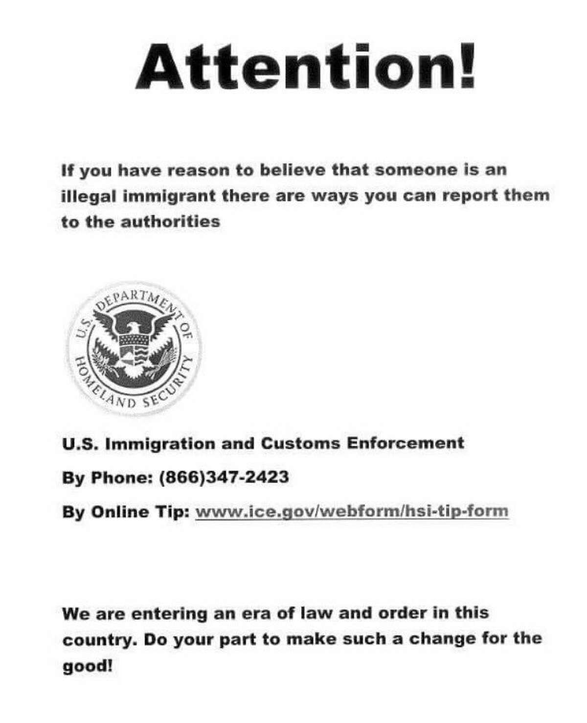 A copy of fliers found on the campus of Texas State in San Marcos.