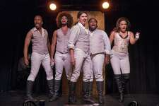 "Chris Anthony Giles, left, Nicholas Alexander Rodriguez, Dan Rosales, Juwan Crawley and Nora Schell in ""Spamilton,"" a whimsical send-up of ""Hamilton."" Crawley is one of four nominees named for the prestigious 2016 Clive Barnes Award given to outstanding young artists in theater and dance."