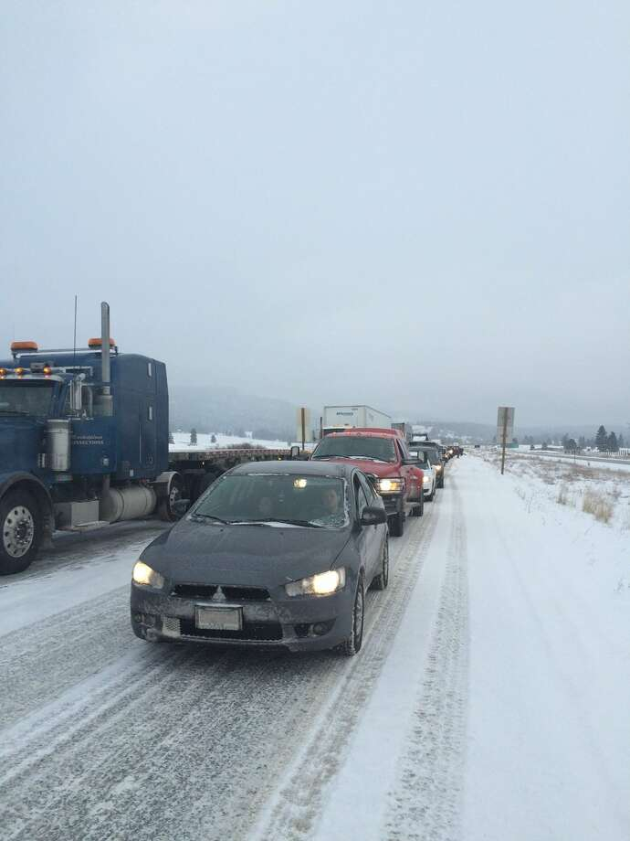 Several collisions and spin-outs caused a closure Friday afternoon in Snoqualmie Pass. Photo: WSDOT