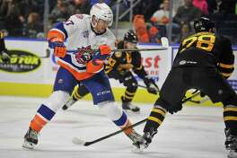 Michael Dal Colle of the Sound Tigers skates against the Providence Bruins on Oct. 15 at the Webster Bank Arena in Bridgeport.