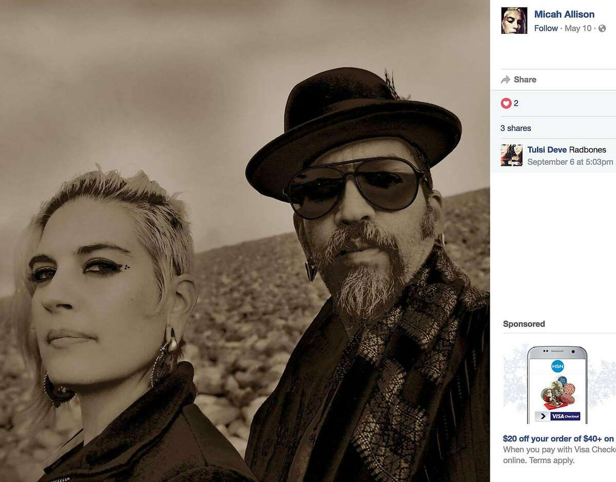 A photo of Micah Allison, left, and Derick Ion Almena that was posted on her Facebook page in May.