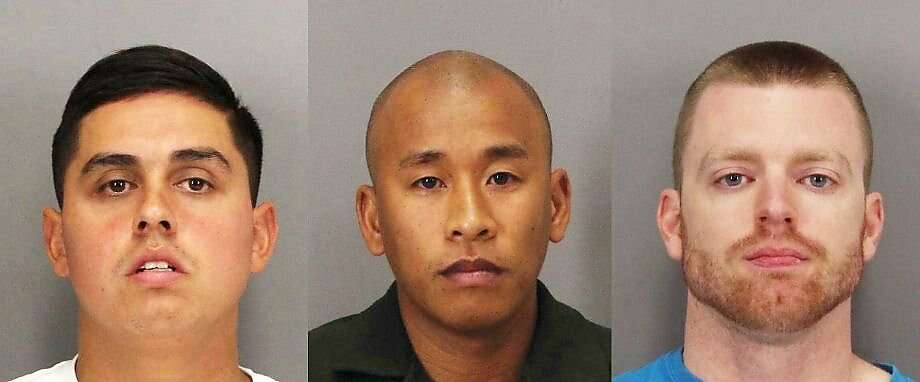 Rafael Rodriguez, left, Jereh Lubrin, center, and Matthew Farris, right, the three Santa Clara County correctional officers convicted in the beating death of inmate Michael Tyree were sentenced to 15 years to life in prison. Photo: Santa Clara Sheriff