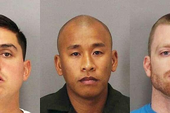 Rafael Rodriguez, left, Jereh Lubrin, center, and Matthew Farris, right, are the three Santa Clara County correctional officers accused of murder in the beating death of inmate Michael Tyree.
