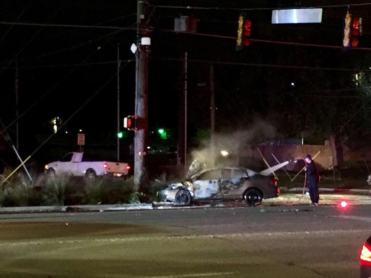 A car caught fire after a collision near the intersection of Broadway Street and Brackenridge Avenue.