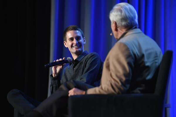 NEW YORK, NY - FEBRUARY 01:  CEO and co-founder of Snapchat Evan Spiegel speaks onstage with The New Yorker staff writer Ken Auletta  at the American Magazine Media Conference at Grand Hyatt New York on February 1, 2016 in New York City.  (Photo by Larry Busacca/Getty Images for Time Inc)