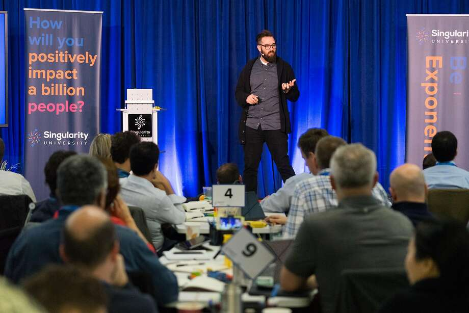 Kyle Nel, executive director of Lowe's Innovation Labs, gives a lecture at Singularity University in Mountain View. Photo: James Tensuan, Special To The Chronicle