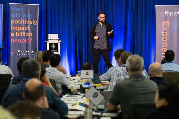 Kyle Nel addresses attendees of  Singularity University in Mountain View, Calif. on Friday, Dec. 9, 2016. The university is an executive-education program that focuses on ideas that will change the world.