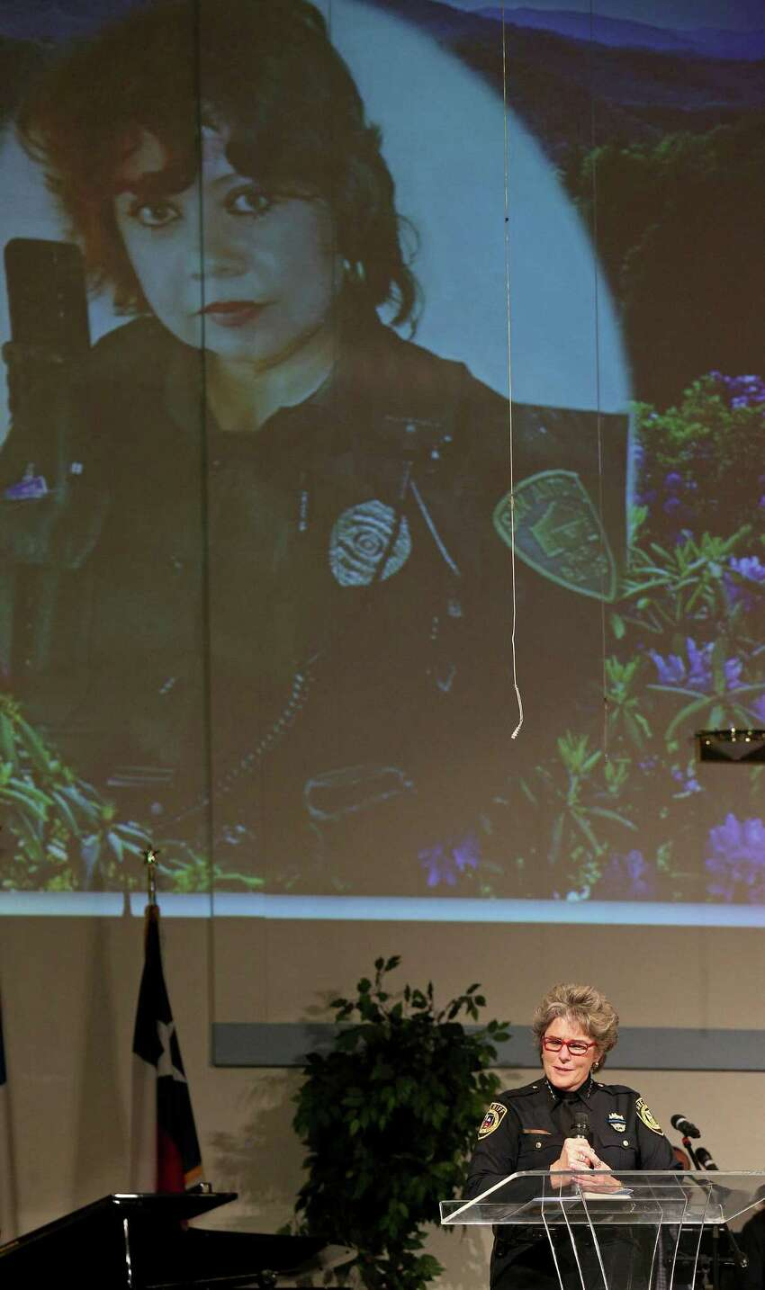 Bexar County Sheriff Susan Pamerleau speaks during the funeral service for BCSO Deputy Doralinda Solis Nishihara held Friday Dec. 9, 2016 at Sendero Assembly of God Church. BCSO Deputy Doralinda Solis Nishihara died after driving her vehicle into a large sinkhole Sunday evening on the Southwest Side.