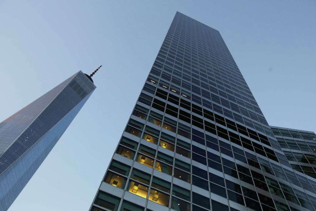 Goldman Sachs' headquarters, right, is a neighbor of One World Trade Center. Goldman Sachs stock is up 33 percent since Donald Trump's election as president.