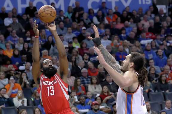 Rockets guard James Harden, left, had 21 points on 6-for-23 shooting. His OKC rival Russell Westbrook was 8-for-25 for 27 points.